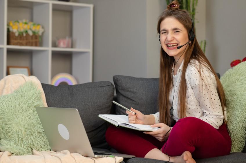 happy teenage girl starting high school online